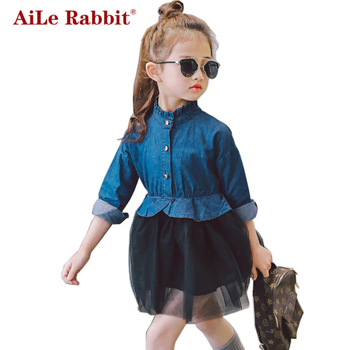 AiLe Rabbit 2017 Korean Girls Dress Fashion Casual Pure Color Net Yarn Denim Dress Apparel Long Sleeve Princess Stitching Dress