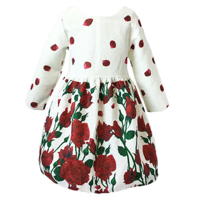 AiLe Rabbit 2017 New Girl Rose Flower Dress Long Sleeve Princess Dress Party Gift Beautiful Fashion Apparel Children's Clothing