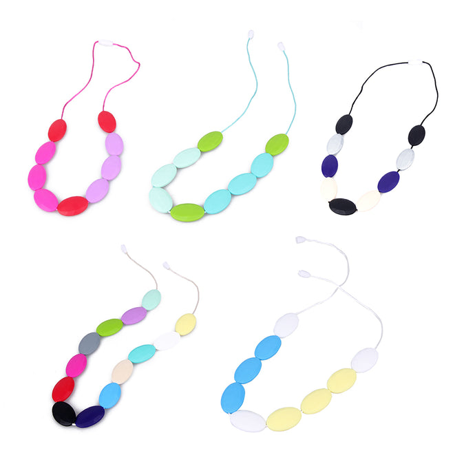DIY Silicone Baby Teething Necklace Baby Teether Flower Chewable Necklaces BPA Free Toddler Infant Teething Toys
