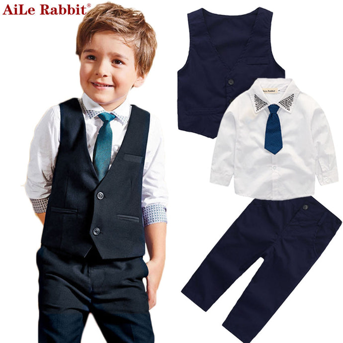 AiLe Rabbit Gentleman Boys Set Vest + Shirt + Pants 3 Pieces Suits Fashion Bright Collar Tie Apparel Long Sleeve Autumn 2017 Hot