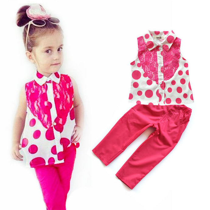 Summer Girls clothing set Kids girls apparels t shirt+pant two pieces Clothing sets