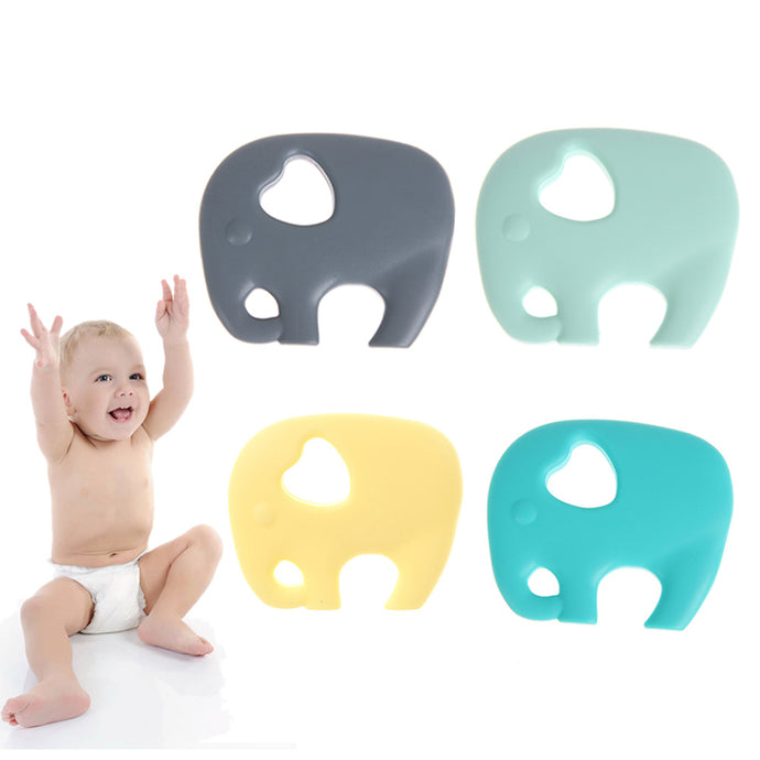 Cute Baby Teether Necklace Elephant Chew Toy  Silicone Teething Toy Chewable Teether Accessory Safe Baby Holder Teether