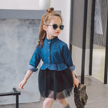 2017 Korean New Girls Dresses Fashion Casual Pure Color Net Yarn Denim Dress Apparel Long Sleeve Princess Stitching Kids Dress