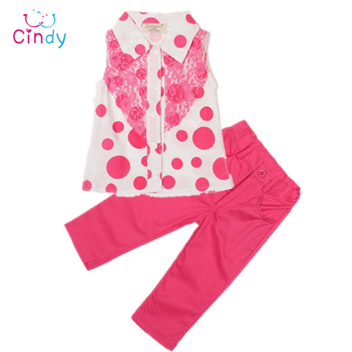 2017 new summer Girls clothing set Kids girls apparels t shirt+pant two pieces Clothing sets children Cartoon Clothing Sets