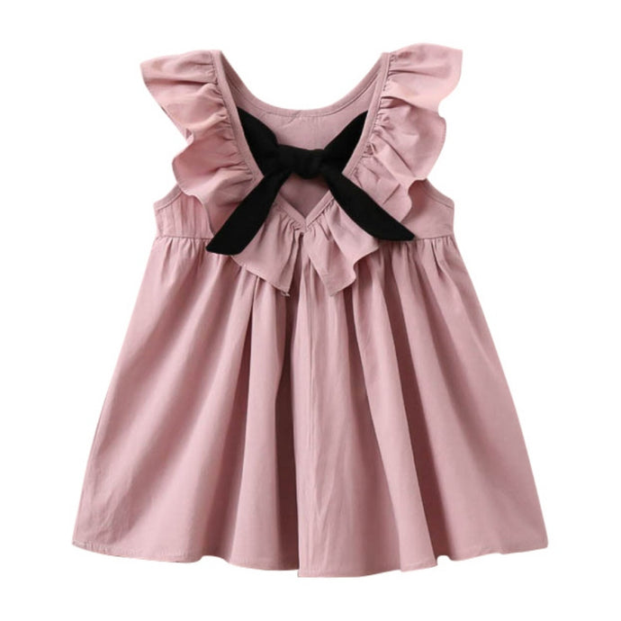 2017 New Princess Kids Baby Girls Dress Bow Tie Sleeveless Jumper Dresses Pleated Puff Sleeve Vestido Children Girls Apparel J2