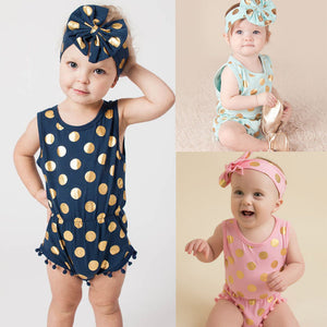 New 2017 Summer Apparel Newborn Girl Peas Slippers Girls Beach Suit  Baby Clothes Girls Rompers + Headband  2pcs .Suit  SR290