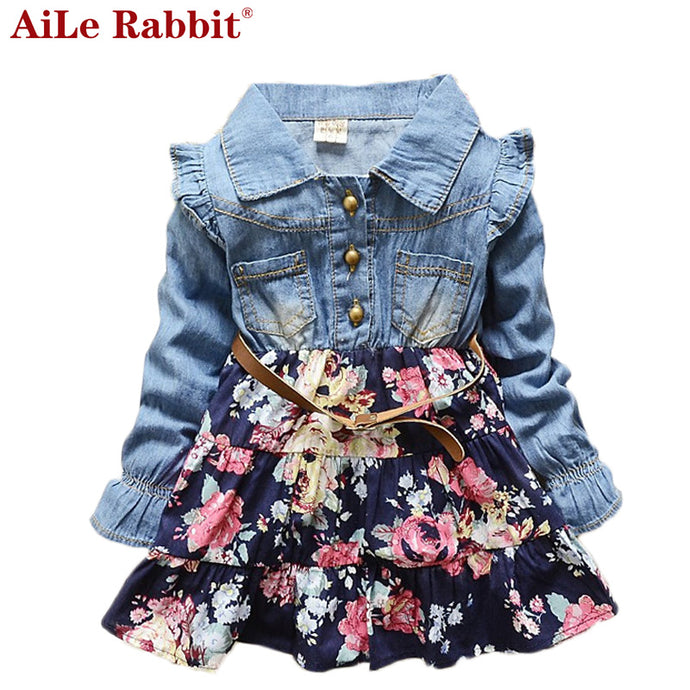 AiLe Rabbit 2017 Spring Summer New Korean Girls Long-sleeved Floral Dresses Fashion Denim Dot Kids Clothing Hot Sale Apparel