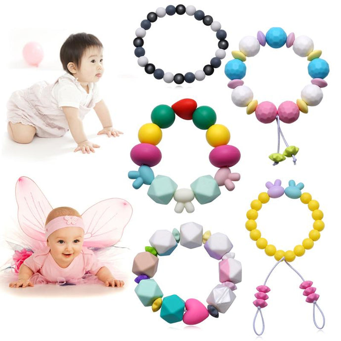 Round Beads Silicone Baby Teether Bracelet Teething Rings For Baby Toys Food Grade Silicone Baby Teethers