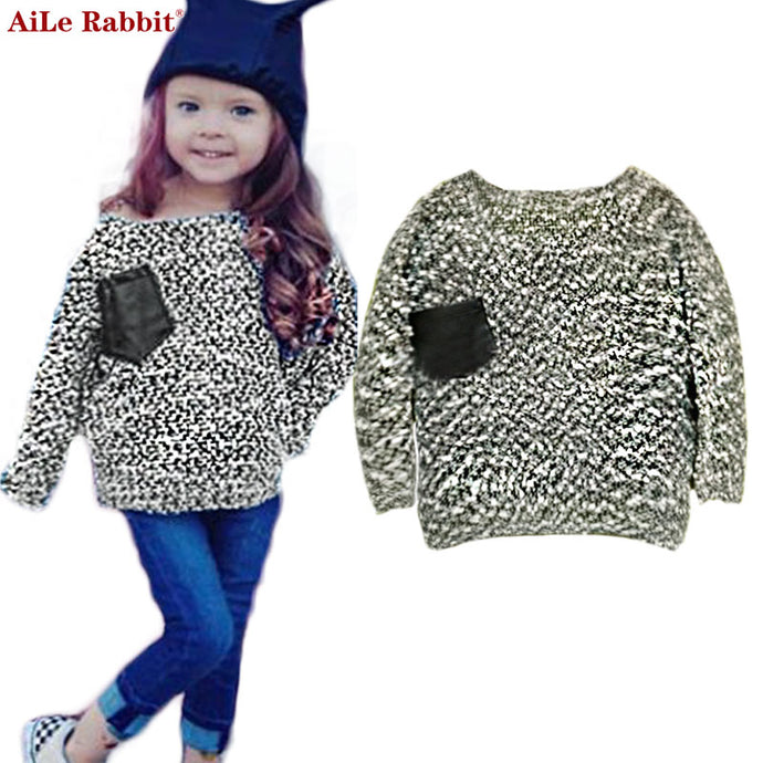 AiLe Rabbit 2017 Spring Autumn New Children's Clothing INS Long-sleeved Sweater Girl Pocket Fashion Shirt Brand Apparel