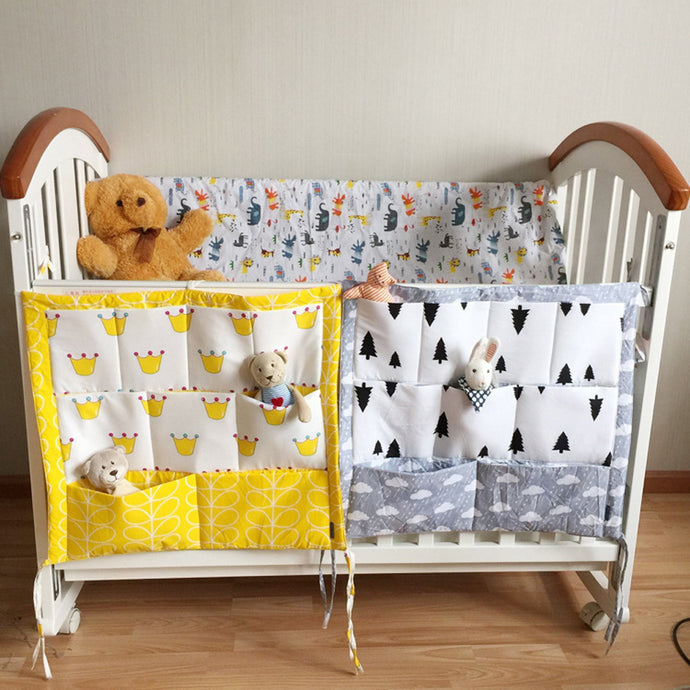 Baby Bed Hanging Storage Bag Cotton Newborn Organizer Toy Diaper
