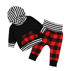 Autumn Kids Boys Clothing Set Fashion Pullover Hoodie Coat+Plaid Pants
