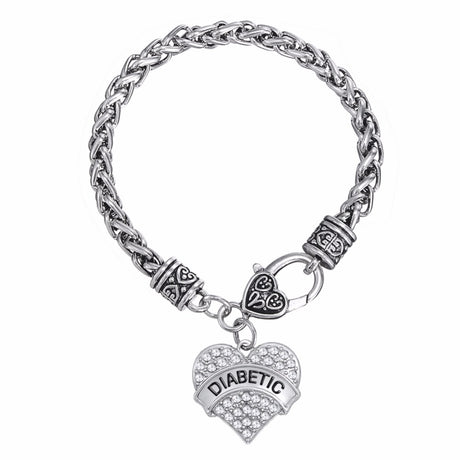 Medical DIABETIC heart zinc alloy silver tone
