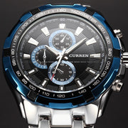 Male Casual Full Stainless Steel Military Wrist Watch - DoorBusterDirect
