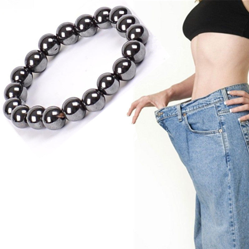 Women Black Cool Magnetic Bracelet Beads Hematite Stone Therapy