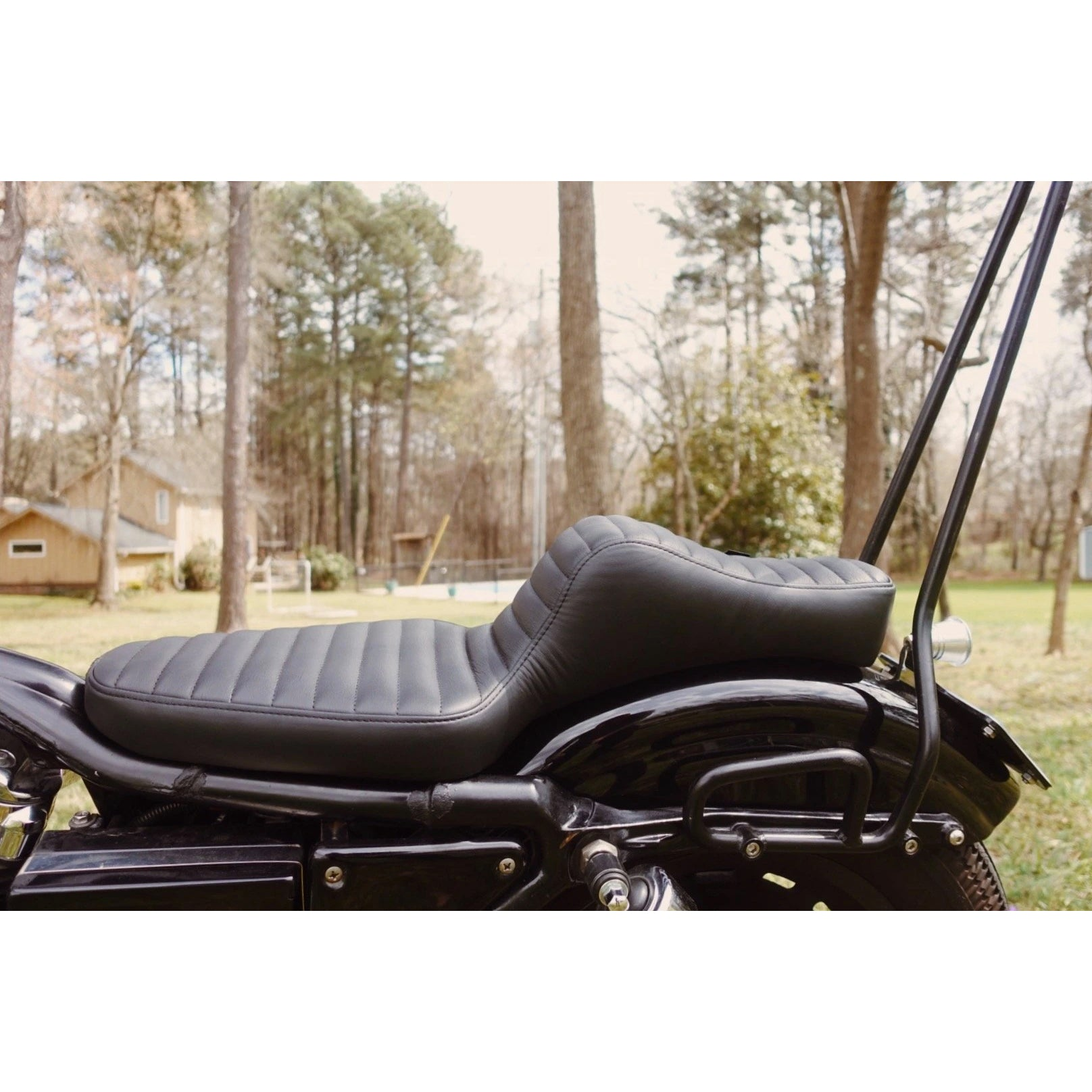 King Cobra Seat - Brown Tuck n' Roll: 82-03 Sportster - MC Parts - Prism Supply