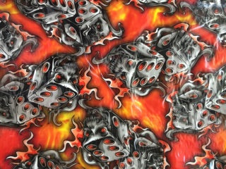 Orange Flaming Dice - 50cm wide - Hydrographics PVA Film