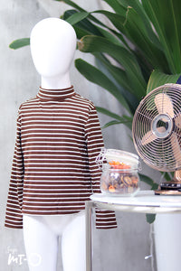 Erlin Striped Roll Neck Top in Brown (Kids) - Saja Mi-O