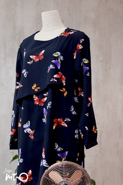 Thea Butterfly Prints Shirt Dress in Black
