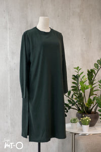 Leith Simply Slits Dress in Forest Green