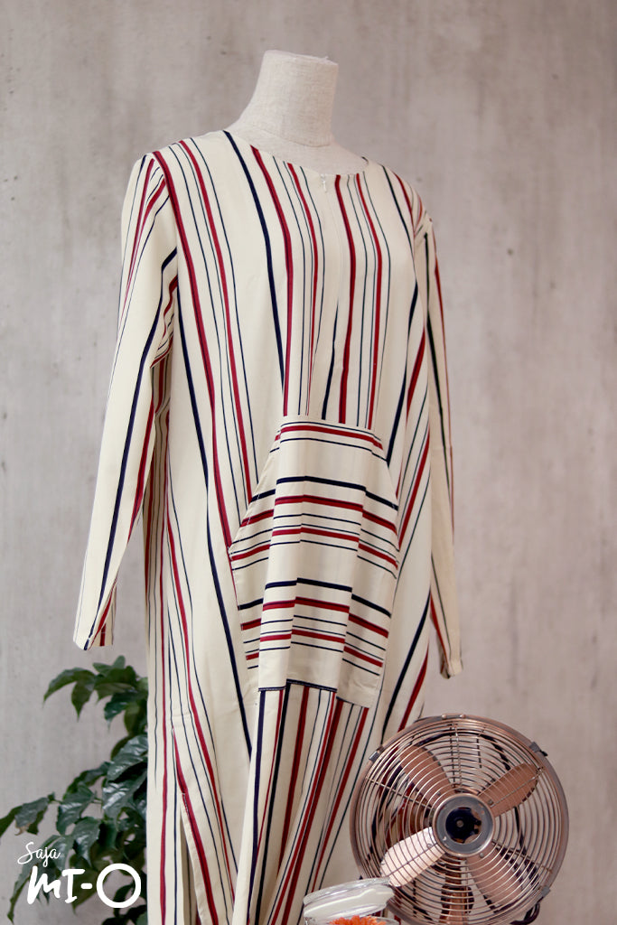 Vanya Casual Stripes Dress in Ivory White