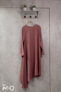 Jayley Asymmetric Dress in Coral - Saja Mi-O