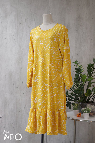 Gina Drop Hem Dots Dress in Yellow