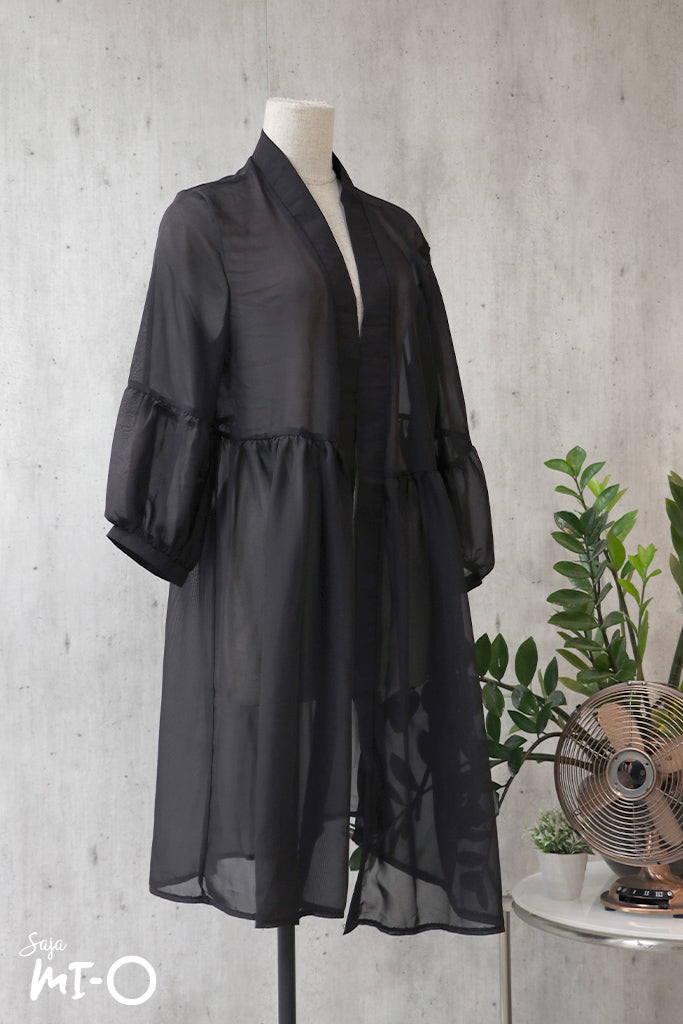 Lea Slip-on Short Sleeve Cardigan in Black - Saja Mi-O