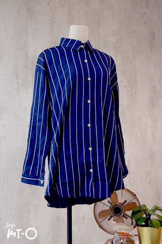 Tara Stripes Collared Top in Blue