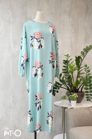 Caitlyn Floral Dress in Light Turquoise