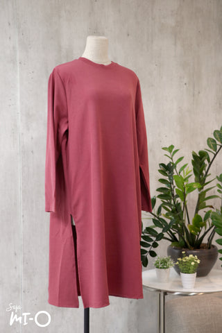 Leith Simply Slits Dress in Raspberry