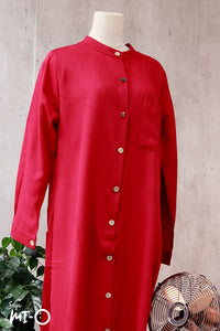 Raidah Solid Button-down Abaya in Red