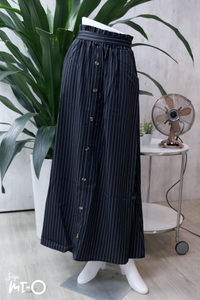Alva Buttoned Long Skirt in Striped Black - Saja Mi-O