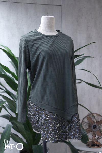 Rina Ribbed Floral Hem Top in Green - Saja Mi-O