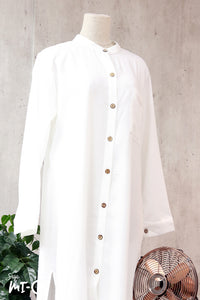 Raidah Solid Button-down Abaya in White