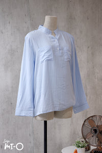 Natalie Twin Pocket Stripes Top in Baby Blue - Saja Mi-O