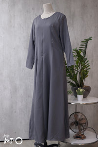 Nikka Long Sleeve Solid Dress in Pewter Grey - Saja Mi-O