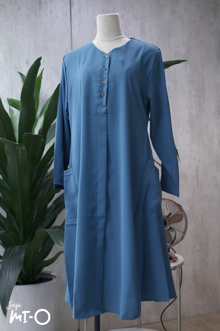 Tess Shirtdress in Mid-Blue - Saja Mi-O
