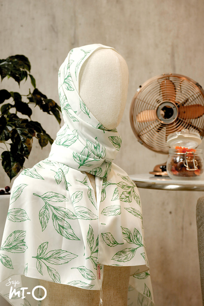 Reema Subtle Palm Leaves Scarf in Green - Saja Mi-O