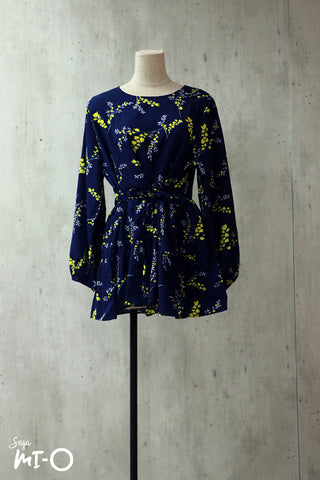 Zoraiz Yellow Petals Long-sleeved Top in Navy Blue