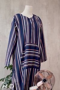 Vanya Casual Stripes Dress in Navy