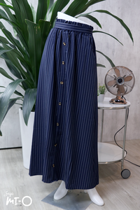 Alva Buttoned Long Skirt in Striped Navy - Saja Mi-O