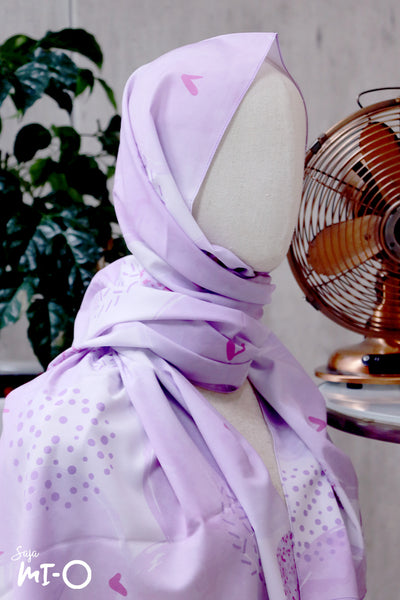 Lyn Abstract Blooms Tudung in Lilac