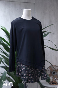Rina Ribbed Floral Hem Top in Black - Saja Mi-O