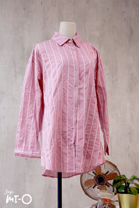 Tara Stripes Collared Top in Pink