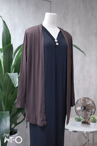 Casey Slip Cardigan in Wenge Brown - Saja Mi-O