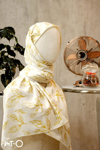 Reema Subtle Palm Leaves Scarf in Gold - Saja Mi-O