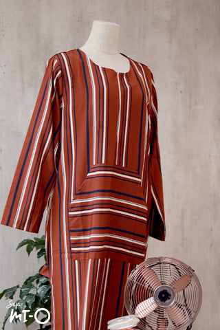 Vanya Casual Stripes Dress in Amber Orange
