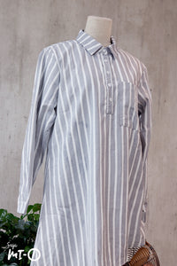 Emira Asymmetric Blouse in Striped Grey - Saja Mi-O