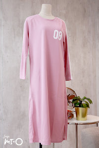Kinza Long Dress in Crepe Pink