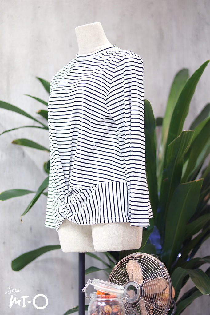 Nura Striped Twist Front Blouse in White